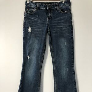 Tattoo Bootcut Distressed Jeans, Size 27